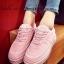รองเท้าผ้าใบผู้หญิง สไตล์เกาหลี ผ้าแคนวาสแต่งกำมะหยี่ (สีชมพู )