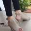 รองเท้าส้นสูง หน้าเต็ม รัดข้อ (สีเทา)
