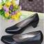 รองเท้าคัทชูส้นสูง หน้าเรียว ทรงสุภาพ (สีดำ )