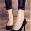 รองเท้าคัทชูส้นสูง กำมะหยี่นิ่ม (สีดำ)