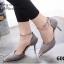 รองเท้าส้นสูง รัดข้อเท้า หัวแหลมสีทอง (สีเทา ) thumbnail 2