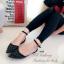 รองเท้าส้นแบนรัดส้น หัวแหลม หนังฉลุลาย (สีดำ ) thumbnail 2