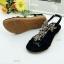 รองเท้าแตะรัดส้น ประดับคริสตัล (สีดำ ) thumbnail 3