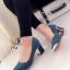 รองเท้าคัทชูส้นสูง หัวแหลม แต่งขอบทอง (สีฟ้า ) thumbnail 1
