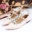 รองเท้าคัทชูสีครีม VALENTINO WATERCOLOR ROCKSTUD Flat Shoes งานหมุดวาเลนเกรดดี รัดข้อเท้าการันตีด้วยภาพถ่ายสินค้าจริงค่า แกะแบบของแท้ วัสดุหนังpuส้นแบนสายแบบเกี่ยวปรับได้ thumbnail 5
