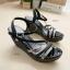 รองเท้าส้นเตารีด รัดข้อเท้า แต่งสายคาด (สีดำ) thumbnail 3