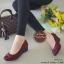 รองเท้าคัทชูส้นเตารีด หัวตัด แต่งอะไหล่สีรมควัน (สีแดงเข้ม ) thumbnail 2