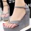 รองเท้าส้นเตารีดรัดส้น แบบคีบ หนังสักหราดนิ่ม (สีเทา )