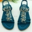 รองเท้าแตะรัดส้น ประดับคริสตัล (สีฟ้า )
