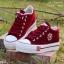 รองเท้าผ้าใบ สไตล์Converse ผ้ายีนส์ (สีแดง ) thumbnail 2