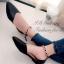 รองเท้าส้นแบนรัดส้น หัวแหลม หน้าV (สีดำ ) thumbnail 1