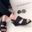 รองเท้าส้นเตารีดแบบรัดส้น งานหนัง (สีดำ )