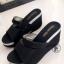 รองเท้าส้นเตารีดแบบสวม สไตล์ลำลอง หนังนิ่ม (สีดำ )