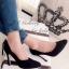 รองเท้าคัทชูส้นสูง หนังกลับ ทรงสวย (สีดำ ) thumbnail 1