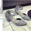 รองเท้าคัทชูส้นสูง รัดข้อเท้า แต่งหมุด (สีเทา ) thumbnail 2