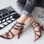 รองเท้าส้นสูง ทรงส้นเข็มรัดข้อ สไตล์ valentino (สีดำ) thumbnail 4