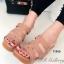 รองเท้าส้นเตารีดส้นไม้แบบสวม (สีแทน )