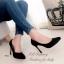 รองเท้าคัทชูส้นสูง หนังกลับ ทรงสวย (สีดำ ) thumbnail 4