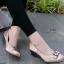 รองเท้าคัทชูส้นเตารีด หนังซาตินปักลาย (สีกากี ) thumbnail 1