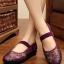 """รองเท้าคัชชูสีชมพู สไตล์ปักกิ่ง ลายดอกไม้สวยหวานดูดี หน้า 0.5"""" ส้น 1.1 """""""