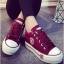 รองเท้าผ้าใบ สไตล์Converse ผ้ายีนส์ (สีแดง ) thumbnail 1