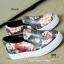 รองเท้าผ้าใบผู้หญิง พื้นยาง พิมพ์ลายดอกไม้ (สีดำ ) thumbnail 3