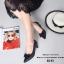 รองเท้าคัทชูหัวแหลม แต่งโบว์ ลายหนังงู (สีดำ ) thumbnail 5