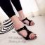 รองเท้าส้นเตารีดแบบเปิดส้น สายคาดเปีย (สีดำ ) thumbnail 2