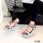 รองเท้าส้นเตารีดปบบรัดข้อเท้า ลายจุด (สีครีม ) thumbnail 3
