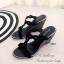 รองเท้าส้นเตารีดแบบเปิดส้น สายคาดเปีย (สีดำ ) thumbnail 3