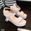 รองเท้าส้นเตารีดปบบรัดข้อเท้า ลายจุด (สีเทา ) thumbnail 3