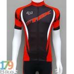 เสื้อปั่นจักรยานแขนสั้น Fox สีดำแดง