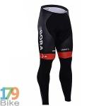 กางเกงปั่นจักรยานขายาว Bora สีดำแถบแดง
