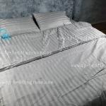 ชุดผ้าปูที่นอนโรงแรมลายริ้ว 6 ฟุต (5 ชิ้น) สีเทา