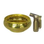 เตาเผาไม้หอม กระถางธูป เครื่องหอมทุกชนิด ทำจากทองเหลืองแท้ + ไฟแช็คไอพ่น ไฟฟู่ หัวพ่น 1ชิ้น