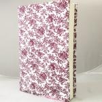 """ปกผ้าพื้นขาว ลายดอกแดง เนื้อผ้าคอตต้อนญี่ปุ่น(โตไก) สำหรับหนังสือขนาด 200 หน้าขึ้นไป ขนาด 8.2"""""""