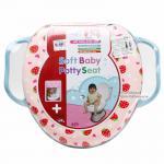 [สตอเบอรี่] ฝารองนั่งชักโครกหุ้มเบาะนิ่ม มีหูจับ Farlin Soft baby potty seat
