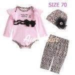 [Size70] [เด็กหญิง-สีชมพูอ่อน] Augeluteบอดี้สูทเซต3ชิ้น