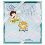 [ฟ้า] ชุดของขวัญผ้าห่อตัวและเครื่องแต่งกาย 4 ชิ้น(เด็กแรกเกิด 0-12 เดือน) TomTom joyful
