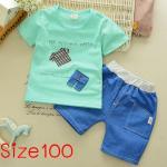 [Size100] ชุดเสื้อกางเกงลายเสื้อผ้า