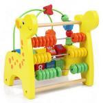 [ลายยีราฟ] ของเล่นไม้กิจกรรม ลูกปัดไม้พร้อมลูกคิด