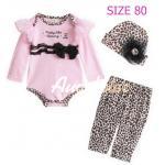 [Size80] [เด็กหญิง-สีชมพูอ่อน] Augeluteบอดี้สูทเซต3ชิ้น