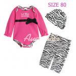[Size80] [เด็กหญิง-สีชมพูเข้ม] Augeluteบอดี้สูทเซต3ชิ้น