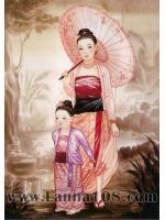 """ภาพศิลปะล้านนา ชื่อภาพ""""แม่หญิงพม่า_2"""" รหัสสินค้า B - 25"""