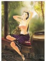 ภาพศิลปะล้านนา ชื่อภาพแม่หญิงอาบน้ำ รหัสสินค้า A - 39