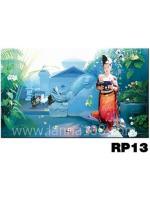 ภาพวาดแนวจริยศิลป์ล้านนา พิมพ์ลงผ้าใบ รหัสสินค้า RP -13