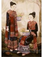 ภาพศิลปะล้านนา รูปแม่ญิงไทซำเหนือ รหัสสินค้า B - 07