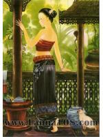 """ภาพศิลปะล้านนา """"แม่ญิงกับกล้วยไม้ """"เอื้องคำ""""รหัสสินค้า B - 50"""