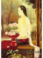 ภาพศิลปะล้านนา แม่ญิงกับดอกบัว รหัสสินค้า B -31