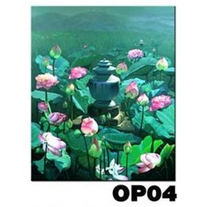 ภาพวาดแนวจริยศิลป์ล้านนา พิมพ์ลงผ้าใบ รหัสสินค้า OP - 04